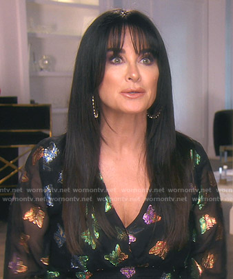 kyle's metallic butterfly blouse on The Real Housewives of Beverly Hills
