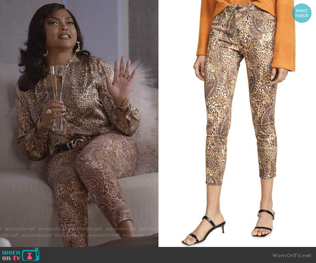 Margot Valencia High-Rise Print Ankle Skinny Jeans by L'Agence worn by Cookie Lyon (Taraji P. Henson) on Empire