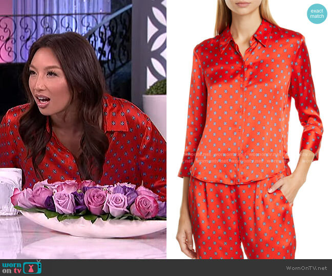 Jil Print Silk Satin Blouse by L'Agence worn by Jeannie Mai  on The Real