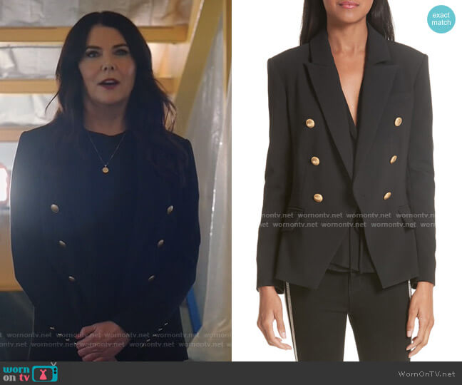 Kenzie Double Breasted Blazer by L'Agence worn by Joan (Lauren Graham) on Zoeys Extraordinary Playlist