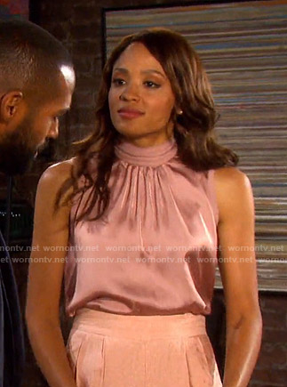 Lani's pink high neck satin top on Days of our Lives