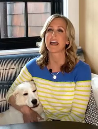 Lara's blue and yellow striped top on Good Morning America