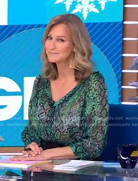 Lara's green snake print blouse on Good Morning America