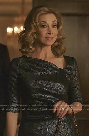 Laura's metallic asymmetric neck dress on Dynasty