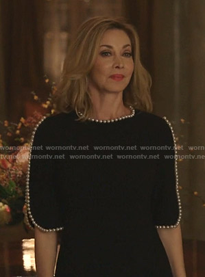Laura's black pearl-trim dress on Dynasty