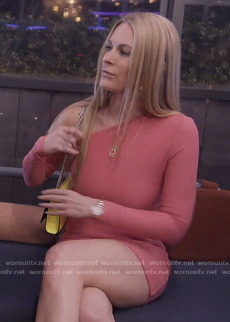 Leah's pink off shoulder dress on The Real Housewives of New York City