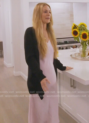 Leah's pink silk slip dress on The Real Housewives of New York City