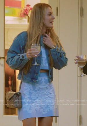 Leah's blue cropped sweater and skirt on The Real Housewives of New York City