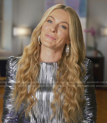 Leah's silver metallic mini dress on The Real Housewives of New York City