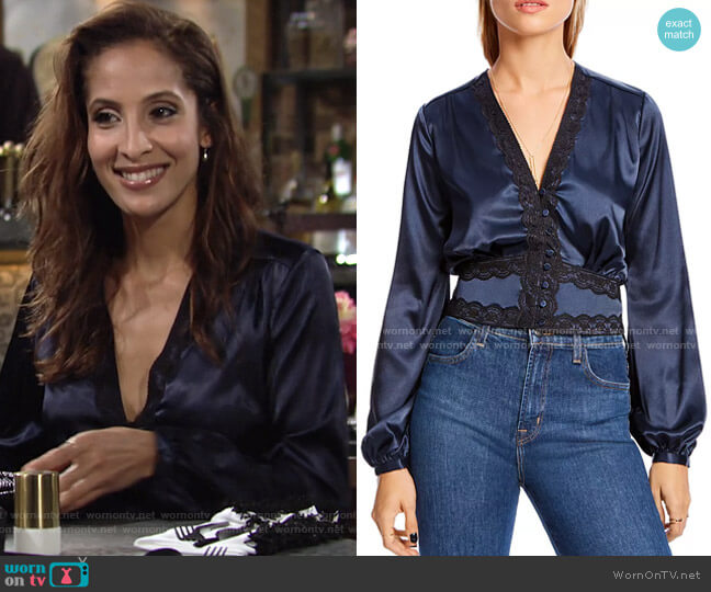 Audrey Lace-Trim Top by Lini worn by Lily Winters (Christel Khalil) on The Young & the Restless