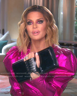 Lisa's black lace-up clutch bag on The Real Housewives of Beverly Hills