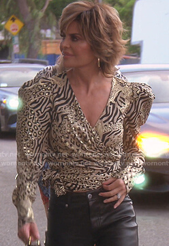 Lisa's metallic animal print wrap top on The Real Housewives of Beverly Hills