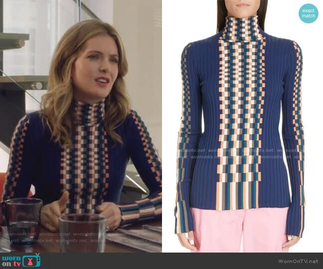 Graphic Rib Cotton Sweater by Loewe worn by Sutton (Meghann Fahy) on The Bold Type