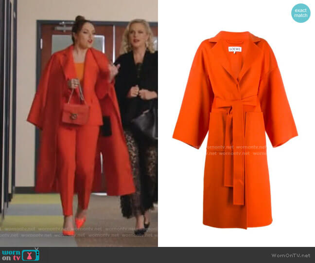 Belted Cloth Coat by Loewe worn by Fallon Carrington (Elizabeth Gillies) on Dynasty