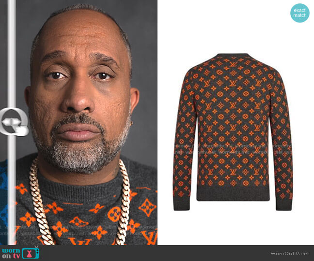 Monogram Cashmere Bi-color Sweaters by Louis Vuitton worn by Kenya Barris  on BlackAF