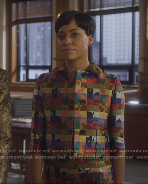 Lucca's multicolored checked dress and jacket on The Good Fight