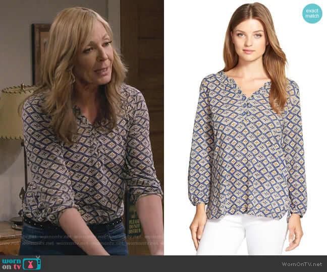 Diamond Woodblock Print Top by Lucky Brand worn by Bonnie Plunkett (Allison Janney) on Mom