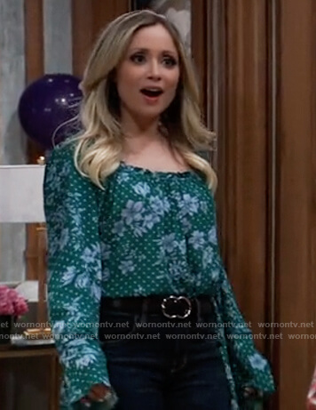 Lulu's green floral bodysuit on General Hospital
