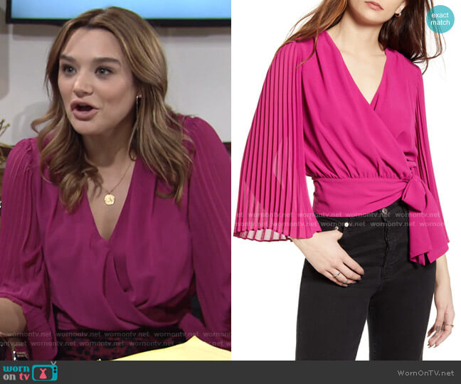 Pleats & Thank You Wrap Top by Lulus worn by Summer Newman (Hunter King) on The Young & the Restless