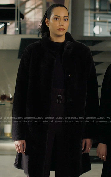 Macy's black shearling coat on Charmed