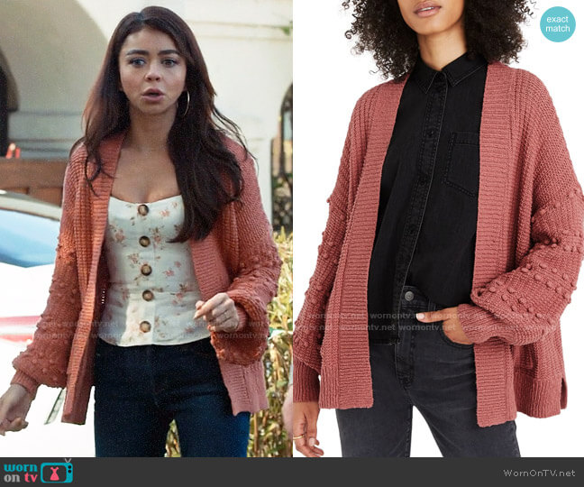 Madewell Bobble Cardigan Sweater in Vintage Quartz worn by Haley Dunphy (Sarah Hyland) on Modern Family