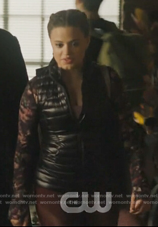 Maggie's floral jacket and leggings on Charmed