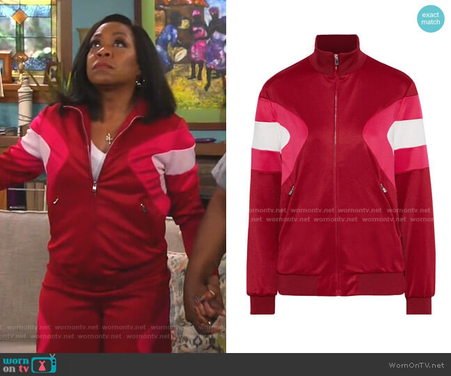Color-Block Stretch-Knit Track Jacket by Maje worn by Tina (Tichina Arnold) on The Neighborhood
