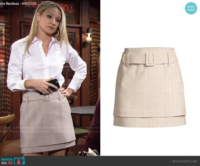 Maje Tiered Check Belted A-Line Skirt worn by Sharon Collins (Sharon Case) on The Young & the Restless