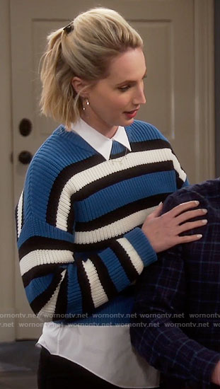 Mandy's blue striped sweater on Last Man Standing