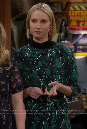 Mandy's green leaf print dress on Last Man Standing