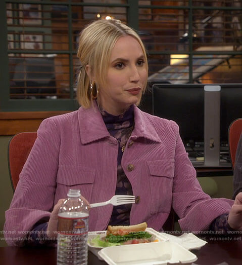 Mandy's purple floral top and pink corduroy jacket on Last Man Standing