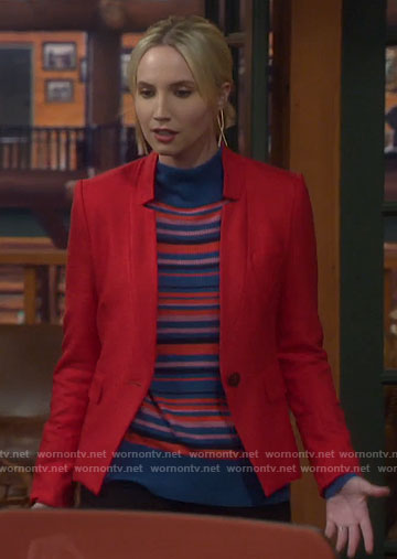 Mandy's blue striped sweater and red blazer on Last Man Standing