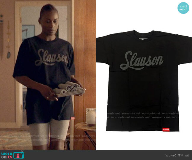 The Marathon Clothing Slauson T-shirt in Black Grey worn by Issa Dee (Issa Rae) on Insecure