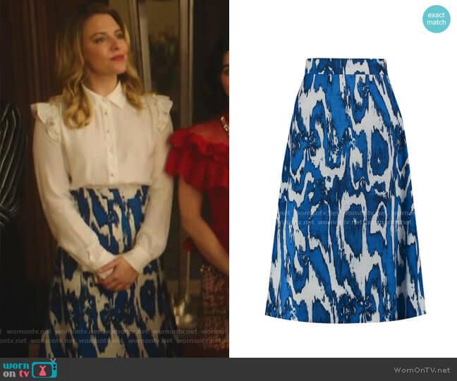 Printed Wool and Silk-Blend Crepe Skirt by Marni worn by Amanda (Helene Yorke) on Katy Keene