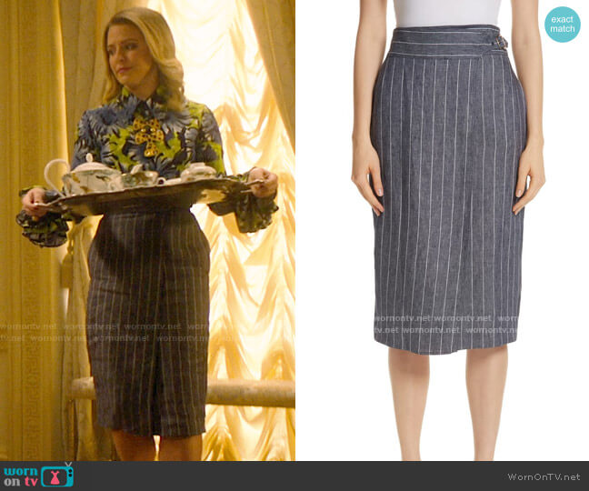 Max Mara Palco Pinstripe Linen Skirt worn by Amanda (Helene Yorke) on Katy Keene