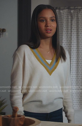 May's white varsity sweater on 9-1-1