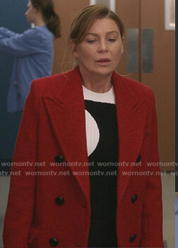 Meredith's black and white ribbed sweater on Greys Anatomy