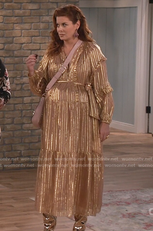 Grace's pink metallic stripe ruffle dress on Will and Grace