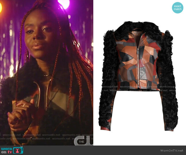Cropped Patchwork Leather Shearling Jacket by Michael Kors Collection worn by Josie McCoy (Ashleigh Murray) on Katy Keene