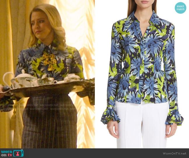 Michael Kors Crushed Print Bell Sleeve Shirt worn by Amanda (Helene Yorke) on Katy Keene