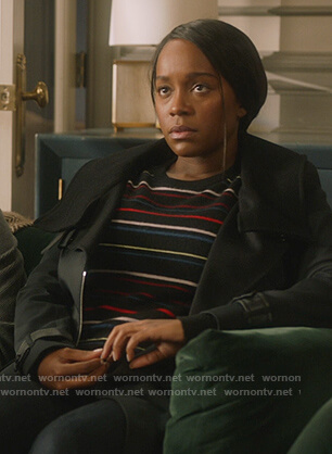 Michaela's black striped sweater on How to Get Away with Murder