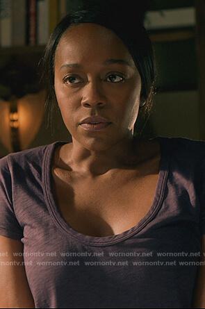Michaela's purple scoop neck tee on How to Get Away with Murder