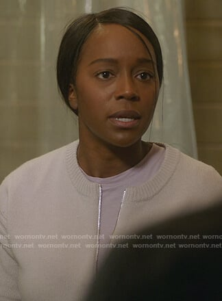 Michaela's white zip front cardigan on How to Get Away with Murder