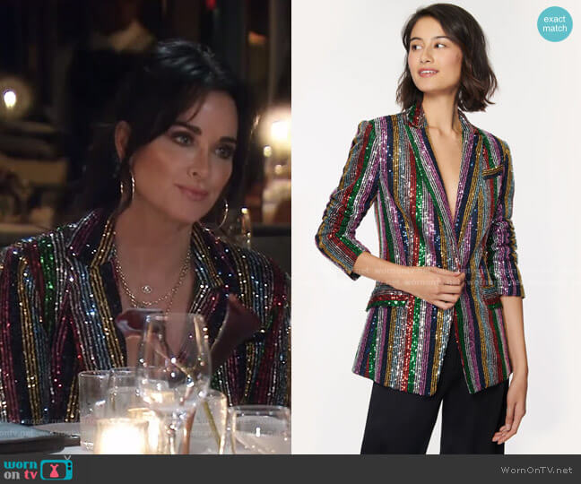 Multistripe Sequins Fitted Blazer by Milly worn by Kyle Richards  on The Real Housewives of Beverly Hills