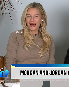 Morgan's beige embellished button sweater on E! News Daily Pop