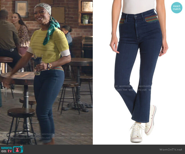The Smooth Hustler Rainbow Stitch Bootcut Jeans by Mother worn by Ali Finer (Javicia Leslie) on God Friended Me