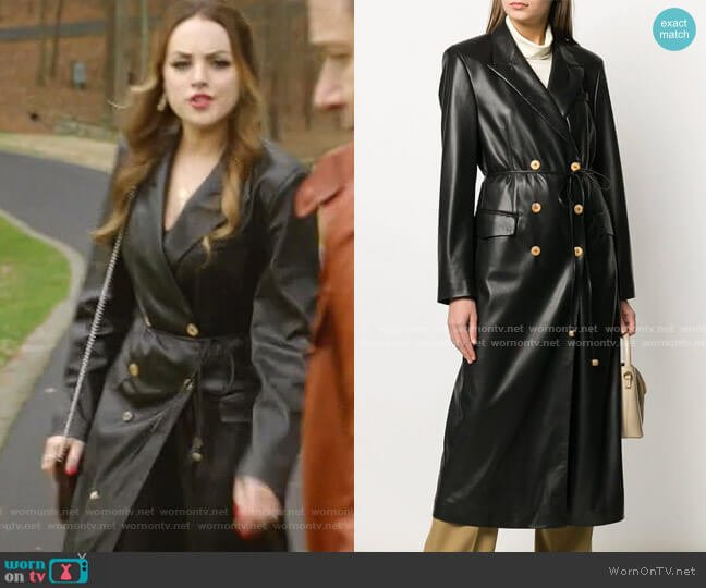 Manila Vegan Leather Coat by Nanushka worn by Fallon Carrington (Elizabeth Gillies) on Dynasty