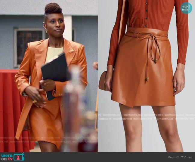 Nanushka Sekoya Vegan Leather Wrap Skirt worn by Issa Dee (Issa Rae) on Insecure