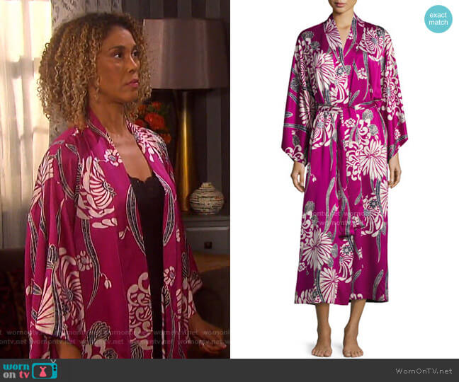 Aziome Floral-Print Long Robe by Natori on Days of our Lives worn by Victoria Platt on Days of our Lives