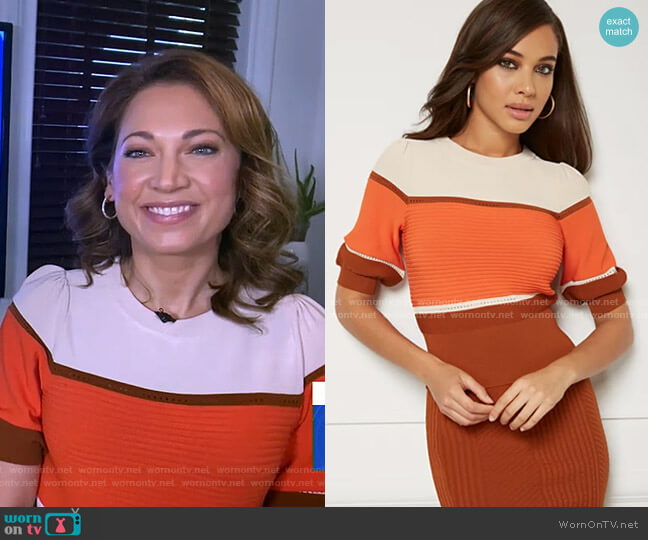 Padma Sweater - Eva Mendes Collection by New York & Company worn by Ginger Zee  on Good Morning America